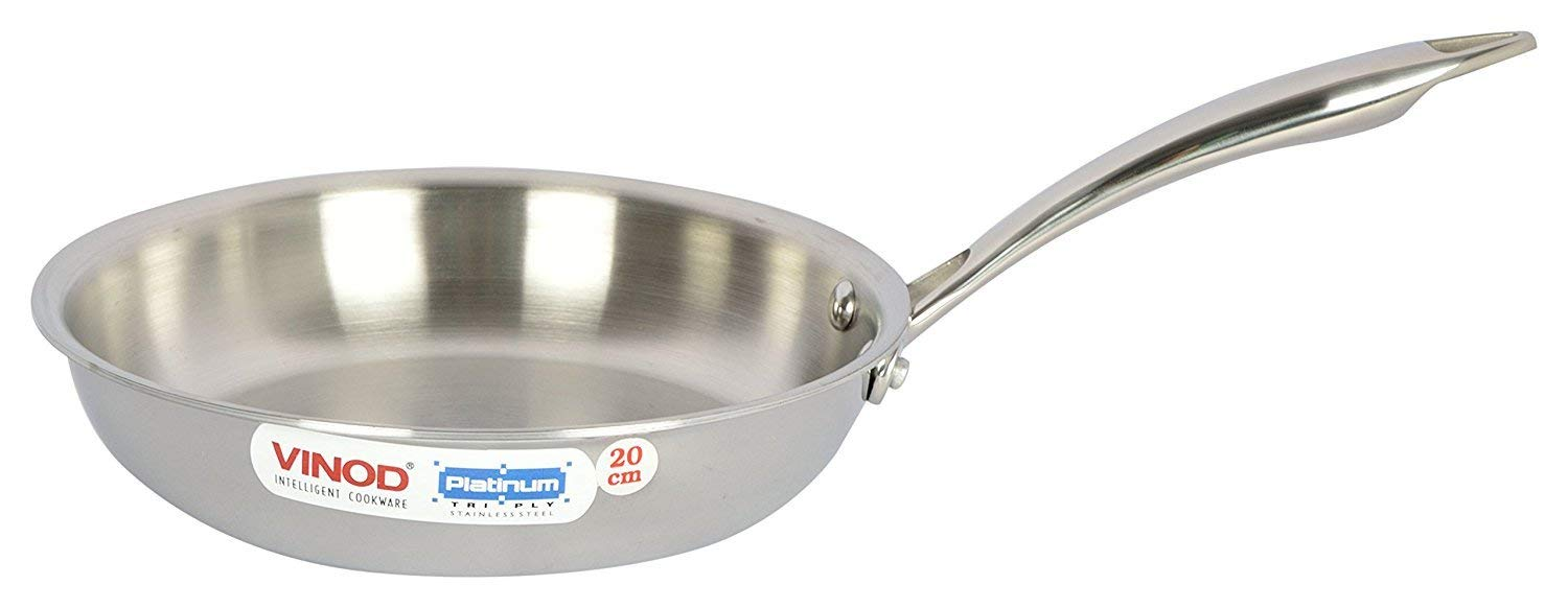 Vinod Cookware Platinum Triply Induction Friendly Stainless Steel Fry Pan, 20 cm