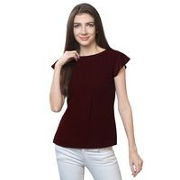 FabBucket Casual Cap Sleeve Solid Women Brown Top