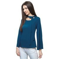 FabBucket Casual Bell Sleeve Solid Women Blue Top