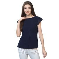 FabBucket Casual Cap Sleeve Solid Women Blue Top