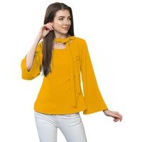 FabBucket Casual Bell Sleeve Solid Women Yellow Top