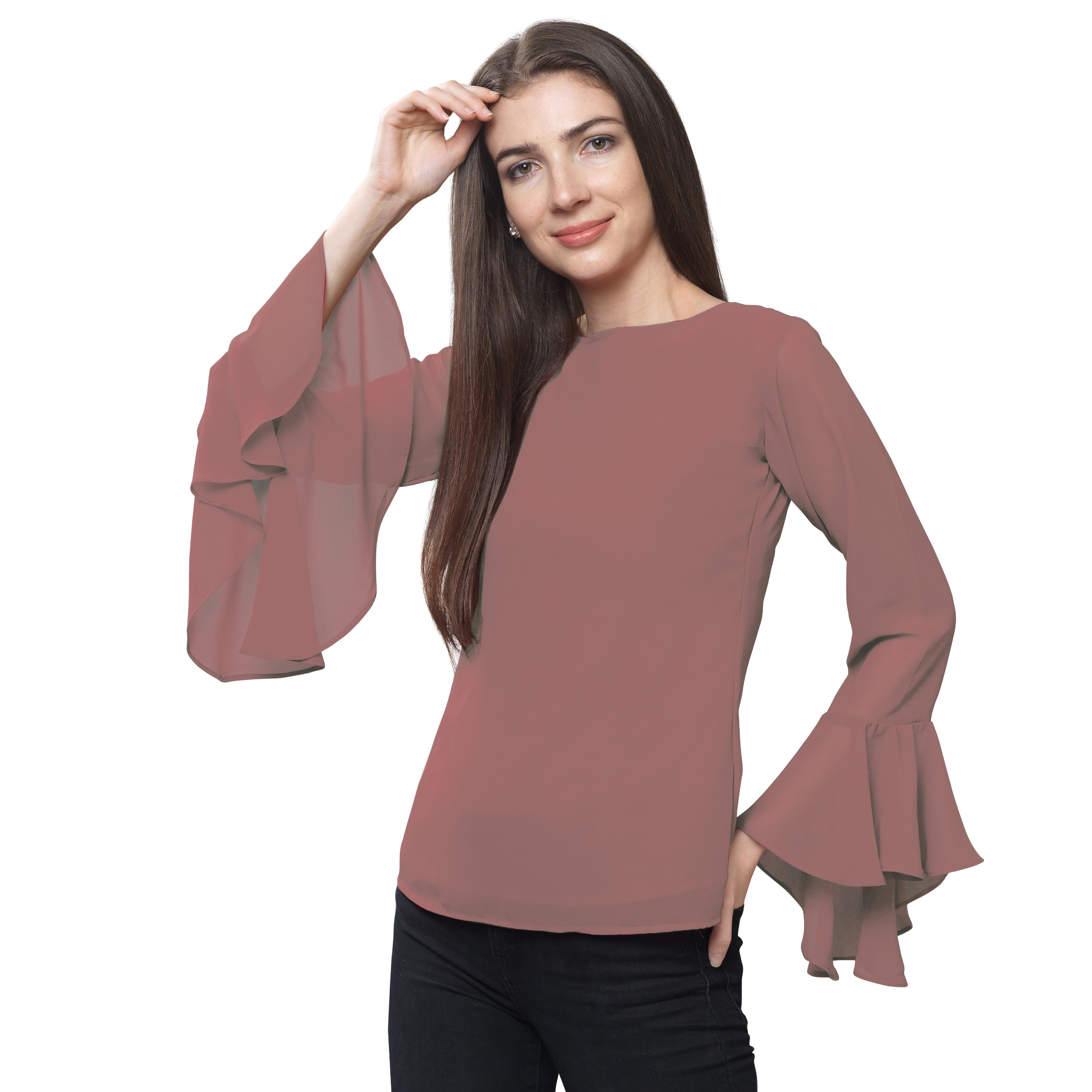 FabBucket Casual Flared Sleeve Self Design, Solid Women Pink Top