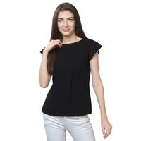 FabBucket Casual Cap Sleeve Solid Women Black Top