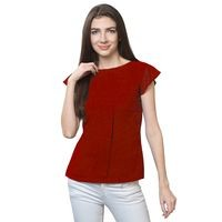 FabBucket Casual Cap Sleeve Solid Women Maroon Top