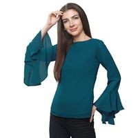 FabBucket Casual Flared Sleeve Self Design, Solid Women Blue Top
