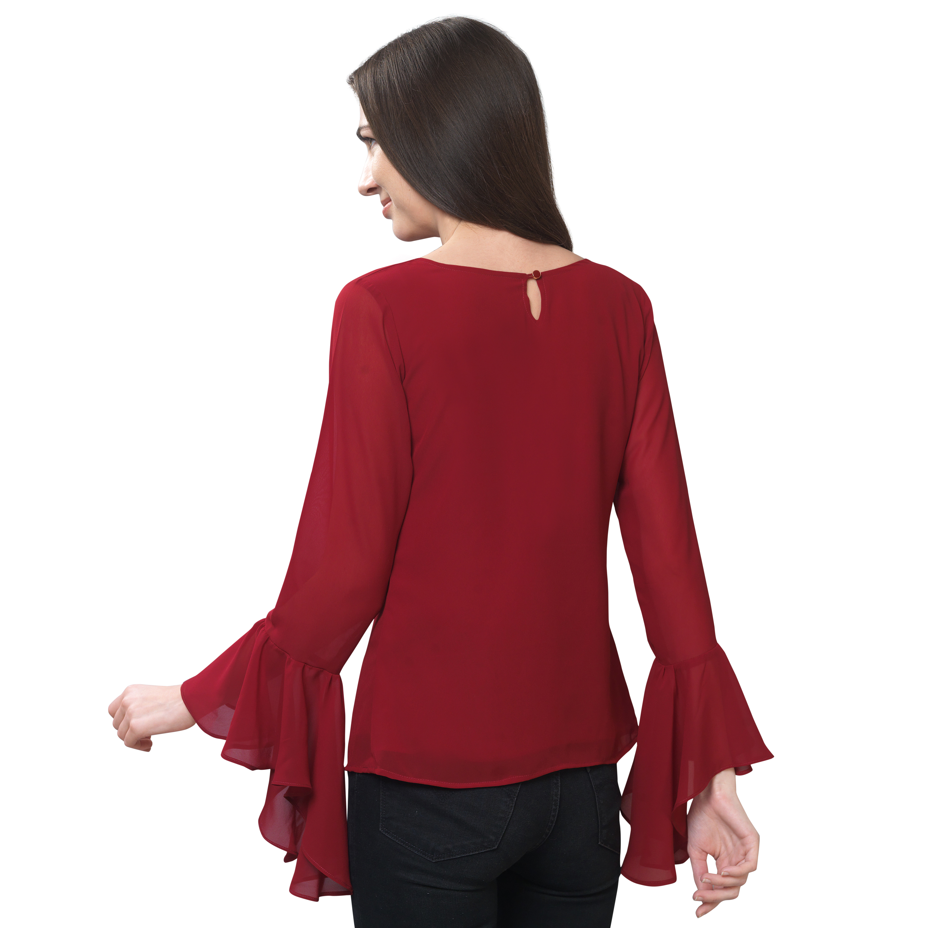 FabBucket Casual Flared Sleeve Self Design, Solid Women Maroon Top