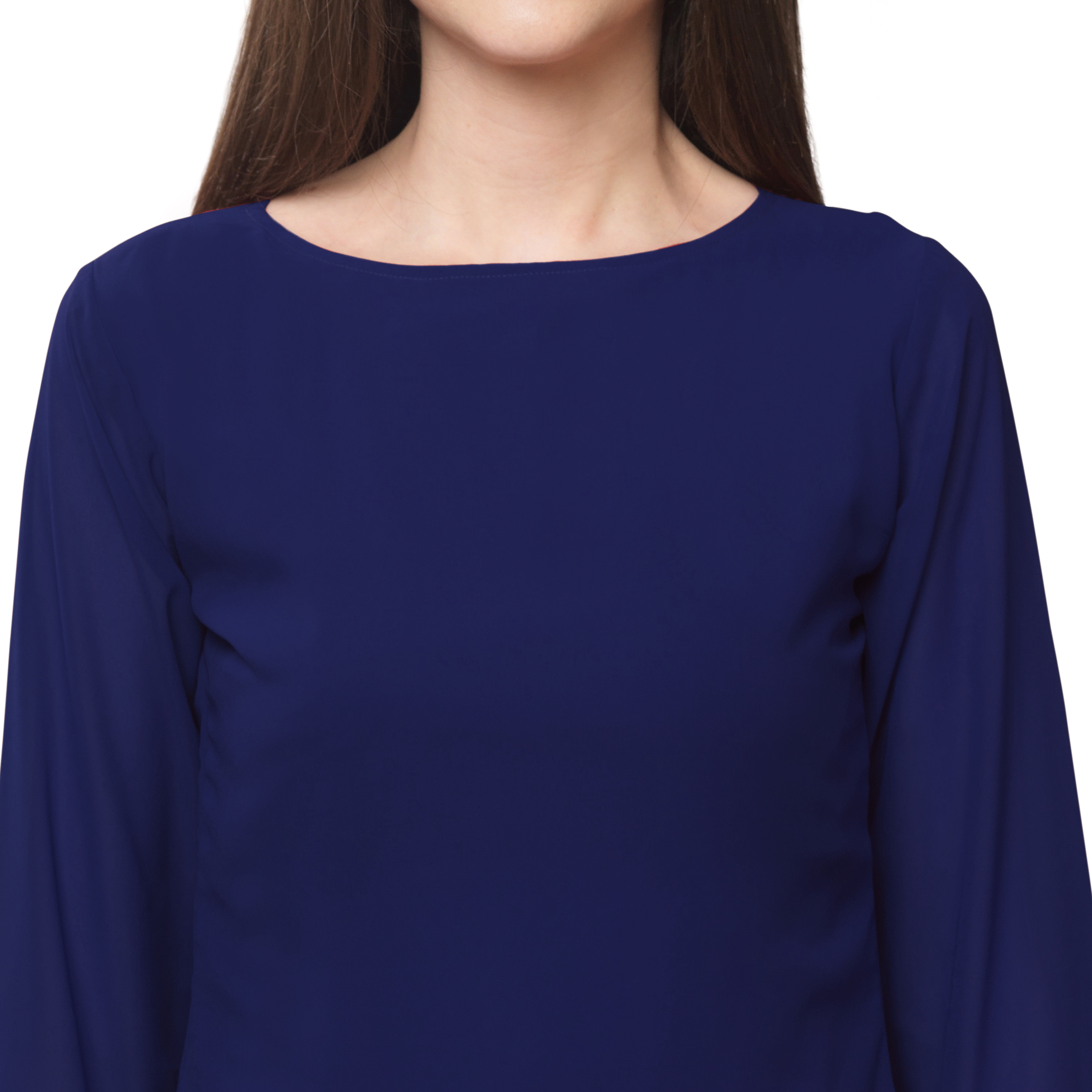 FabBucket Casual Flared Sleeve Self Design, Solid Women Dark Blue Top