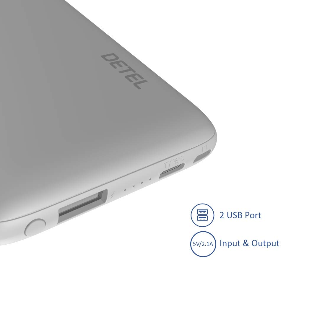 Detel 10000mAh Pro Lithium Polymer Power Bank with Built in Type-C and Micro USB Cable (White)