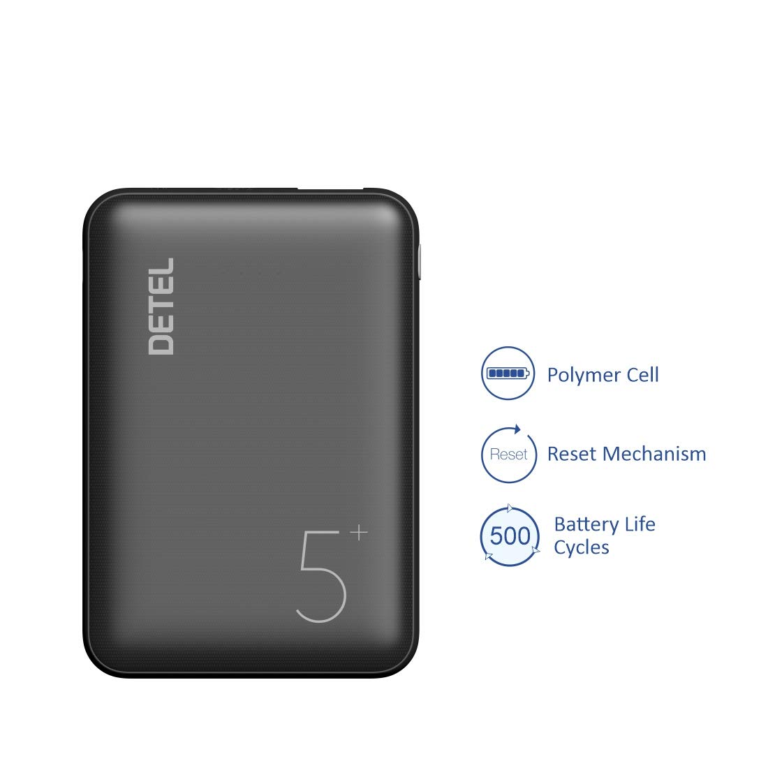 Detel Slim Lithium Polymer 5000mAh Power Bank with 3 inputs (Lighting,Type-C,Micro USB)