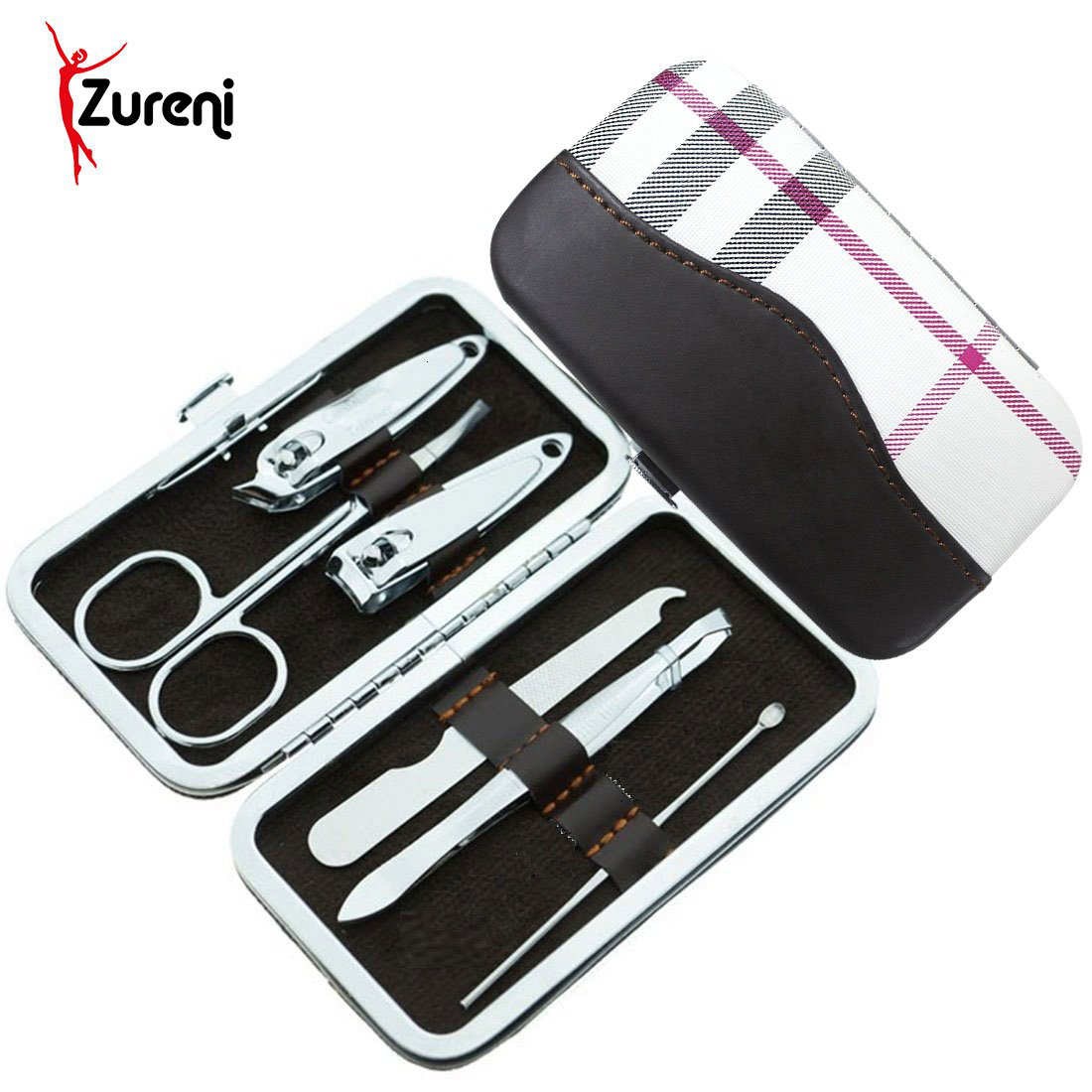 Zureni 6pcs Stainless Steel Nail Clipper Set Manicure Pedicure Set Grooming Kit with PU Leather Case for Tools