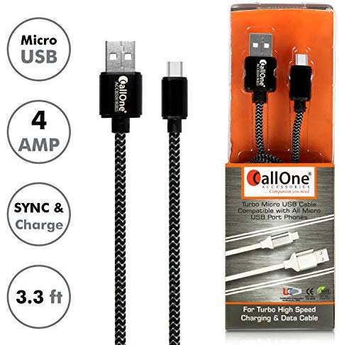Callone Dc-406Mb Fast Charging Type C Usb Data Transfer Nylon Braided Cable With Metal Connector Compatible With Usb-C Android Mobiles And Other Smart Phones (4 Amp, 1M, Colour May Vary)