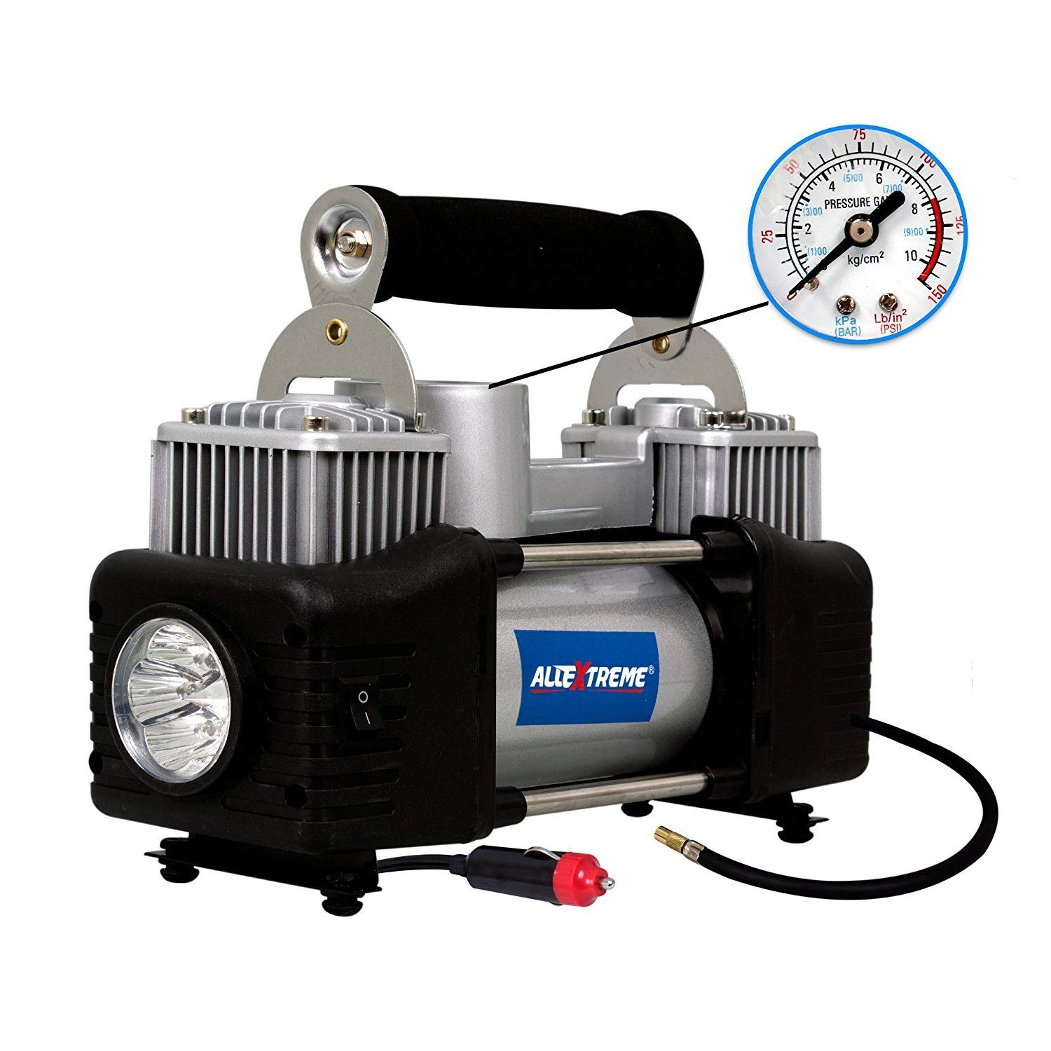 AllExtreme AE-8304Z Typhoon Double Cylinder Tyre Inflator Portable Heavy Duty Air Compressor with Cigratte Lighter Plug for Car, Auto and SUVs (150 PSI, 1 Year Warranty)