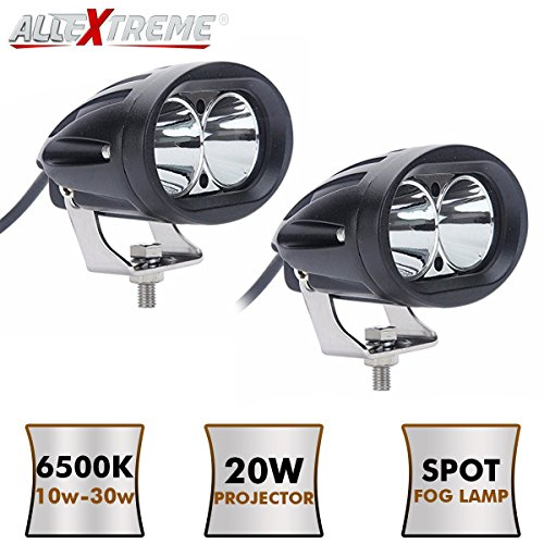 AllExtreme EX4DPL2 4 Inch Oval CREE LED SMD Projector Fog Lamp with Spot Flood Beam for Car & Motorcycle (20W, White Light, 2 PCS)