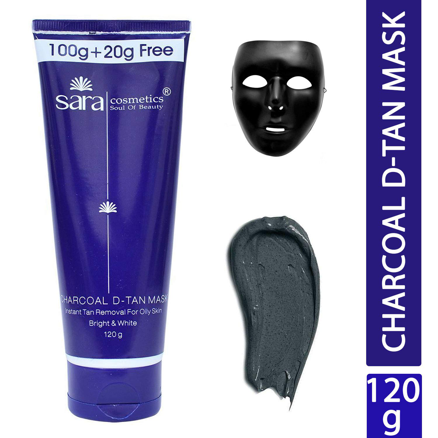 SARA SOUL OF BEAUTY Charcoal D-Tan Mask Ultra Glow and Instant Tan Removal of Blackheads Whiteheads and Dirt for Oily Skin