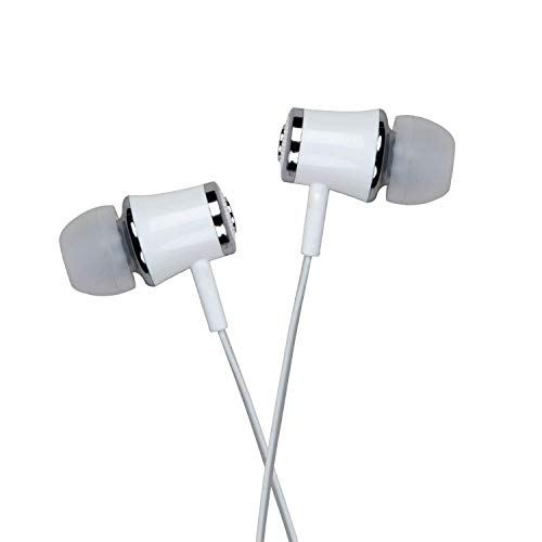 Mmak Mk-21W 3.5Mm Jack Wired Earphones Bass Stereo Earbuds Headphones For Ios/Android (White)