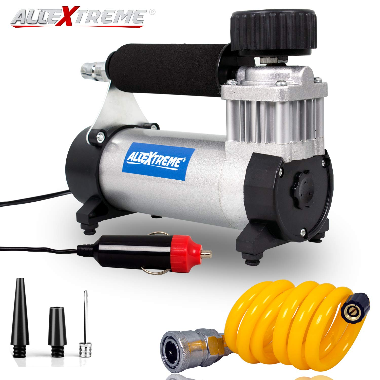 AllExtreme AE-8300K Portable Air Compressor Pump 12V Electric Heavy Duty Tyre Inflator with Tool Box Kit, Cigratte Lighter Plug and Extension Air Hose (150 PSI, 1 Year Warranty)