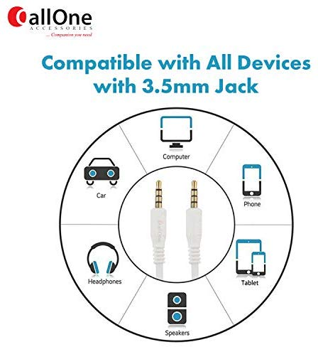 Callone Coar-Gw 3.5Mm Connector Aux Cable Male To Male Jack Stereo Cord For Car, Stereo Speaker, Mobile Phones, Laptop And Computer (1.5 M, White)