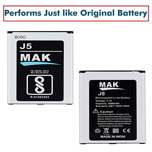 MMAK 2600 mAh Rechargeable Lithium ion Mobile Battery Compatible with Samsung Galaxy J5 Smartphone (J5)