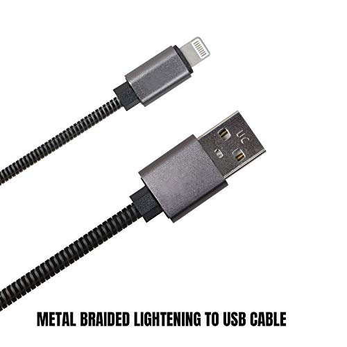 Mmak Mk541-I7 Metal Braided Lightening To Usb Cable For Fast Charging And Data Transfer (3.3 Feet, Black)
