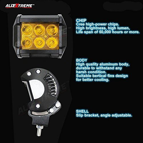 AllExtreme EX6FY2P 6 LED Fog Light Bar Spot Beam Off Road Driving Lamp for Bikes Motorcycle and Cars (18W, Amber Yellow Light, 2 PCS)