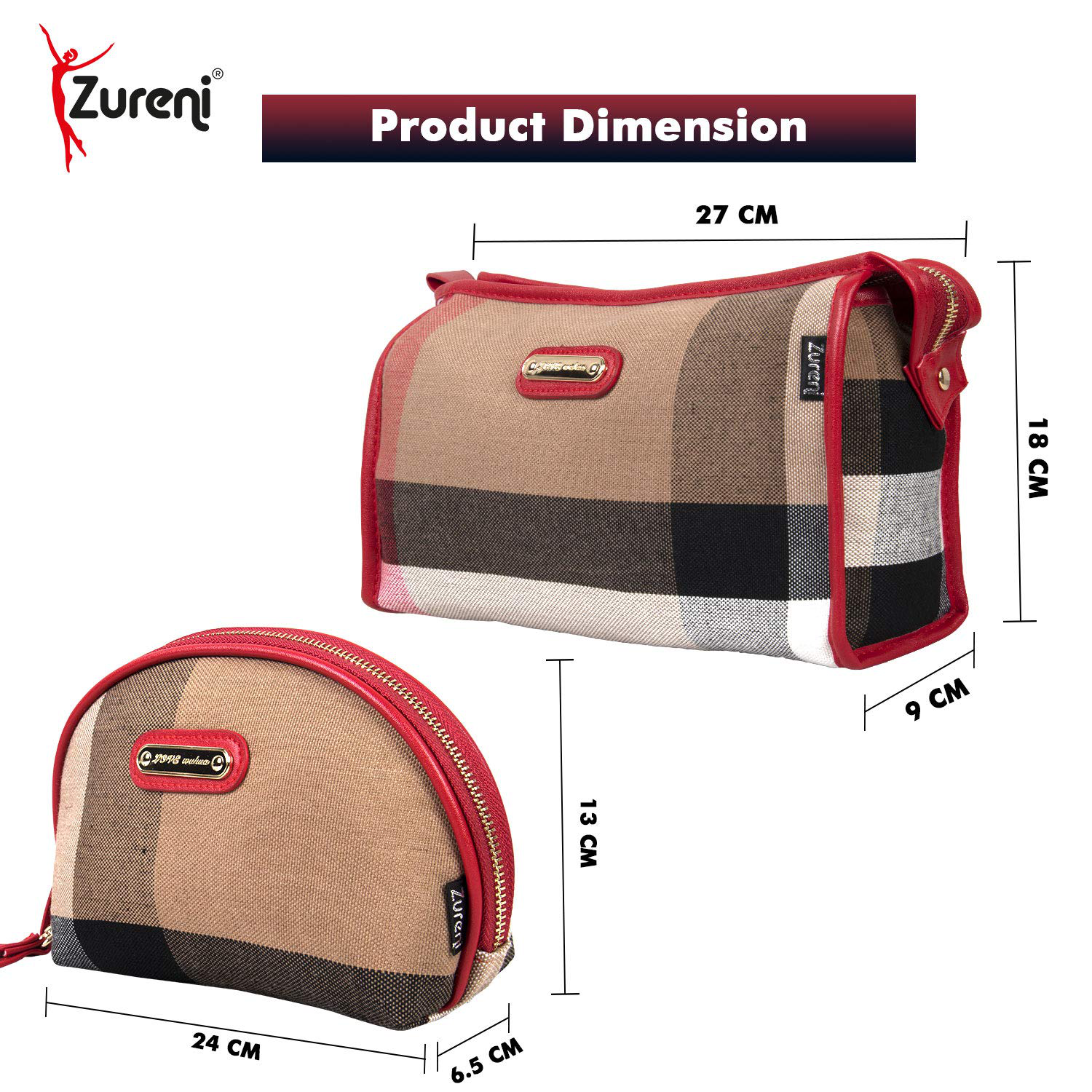 Zureni ZU161-477 Set of 2 Cross Striped Canvas Zippered Cosmetic Toiletry Bag Wristlet Wallet Travel Clutch Purses with Interior Pockets for Women and Girls (Multicolor)