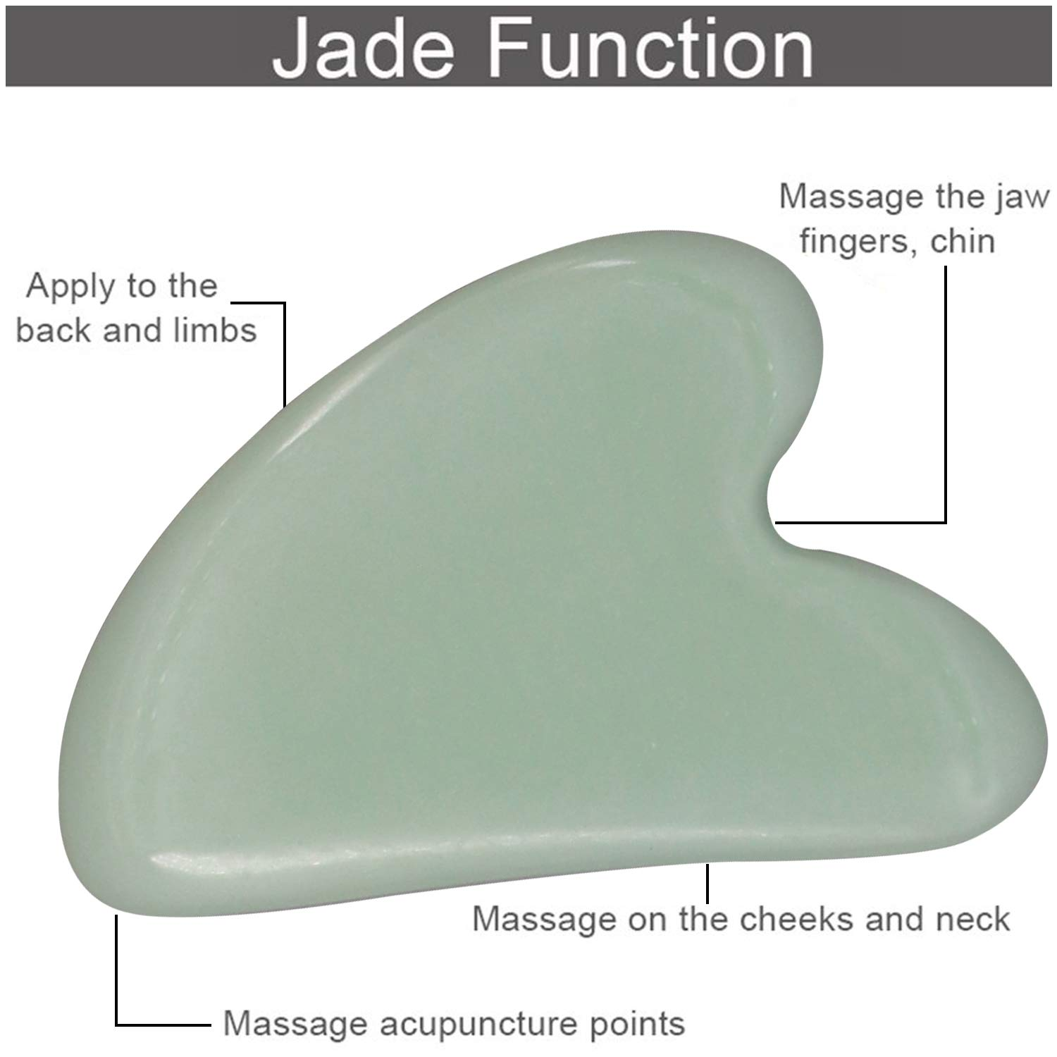Zureni GSB-HZ-7-5 Gua Sha Scraping Massage Tool for Facial Glow, Blood Circulation, Natural Jade Stone Removes Toxins, Prevents Wrinkles, Boost Radiance of Complexion (1 Pc, Light Green)