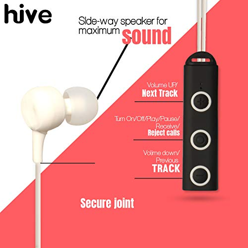 hive V25 Bluetooth Wireless Stereo Earphone with Mic Sweat-Proof Sports Neckband Headphone for Smartphone and Android Mobile Phones (Random Colors)