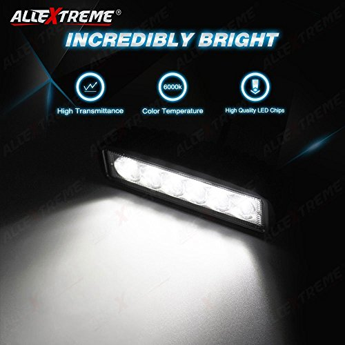 AllExtreme EX6I6F1 6 LED Fog Light Bar 6 Inch Waterproof Driving Lamp with Mounting Bracket for Motorcycles and Cars (18W, White Light, 1 PC)