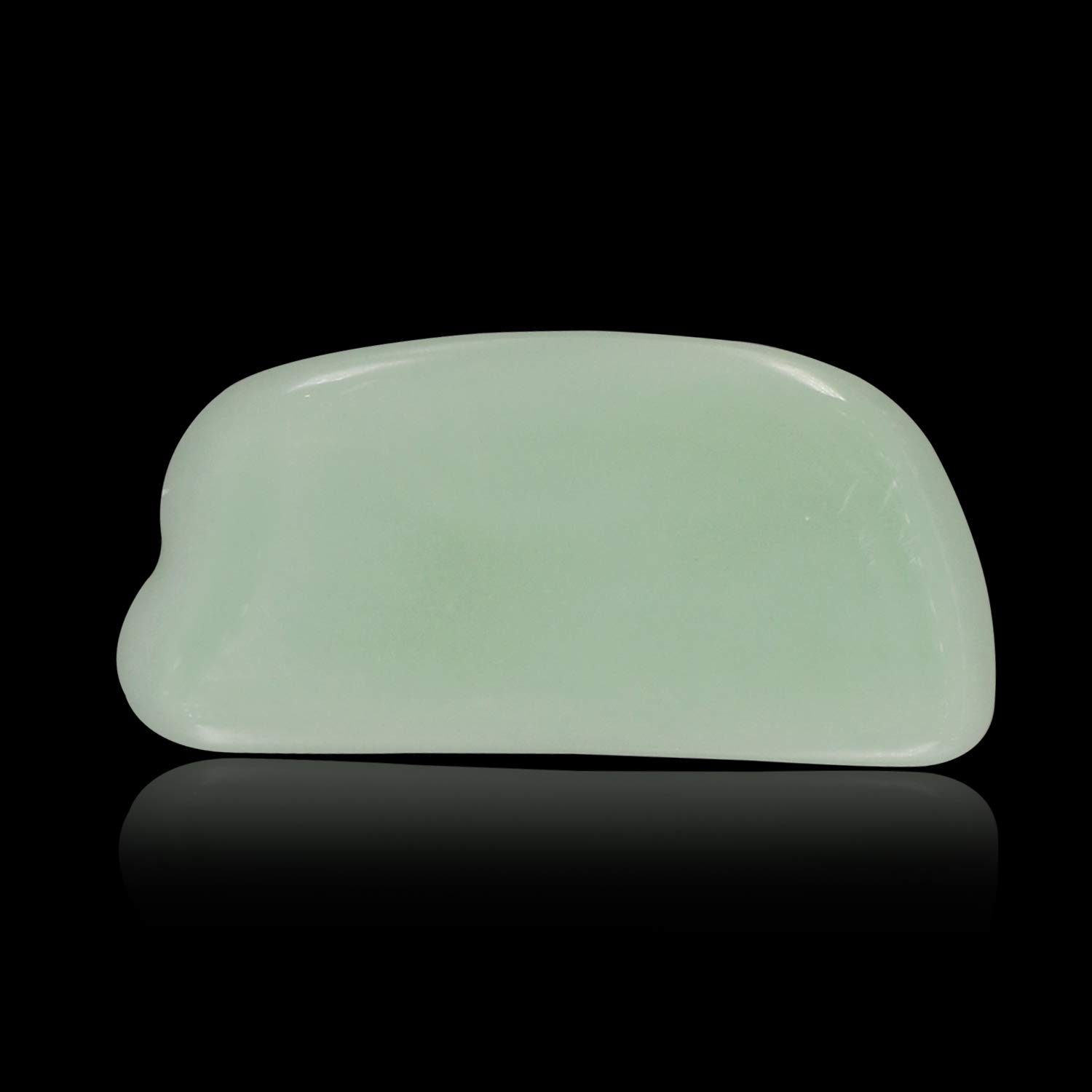 Zureni GSB-HZ-7-4 Gua Sha Scraping Massage Tool for Facial Glow, Blood Circulation, Natural Jade Stone Removes Toxins, Prevents Wrinkles, Boost Radiance of Complexion (1 Pc, Light Green)