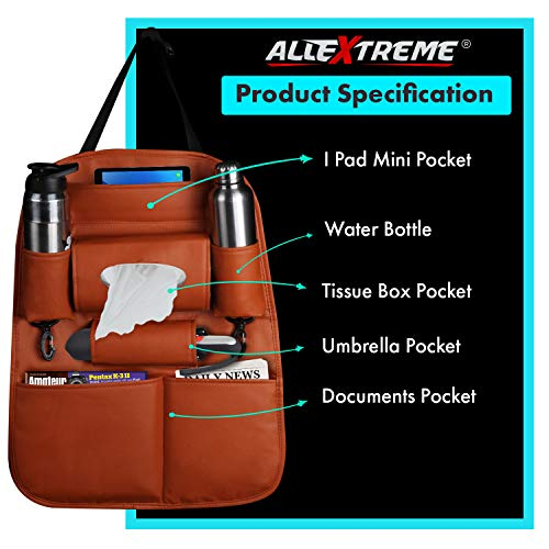 AllExtreme EXSBEST PU Leather Car Auto Seat Back Organizer Universal Multi Pocket Travel Storage Bag with Hangers, Tissue Paper and Bottle Holder (Tan)