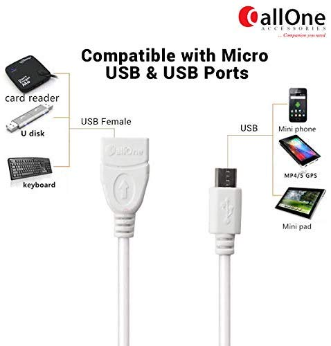 Callone Otg-01 Micro Usb To Usb Otg Cable On The Go Micro-Usb Male To Usb Female Adapter Converter For Android Devices (6 Inch)