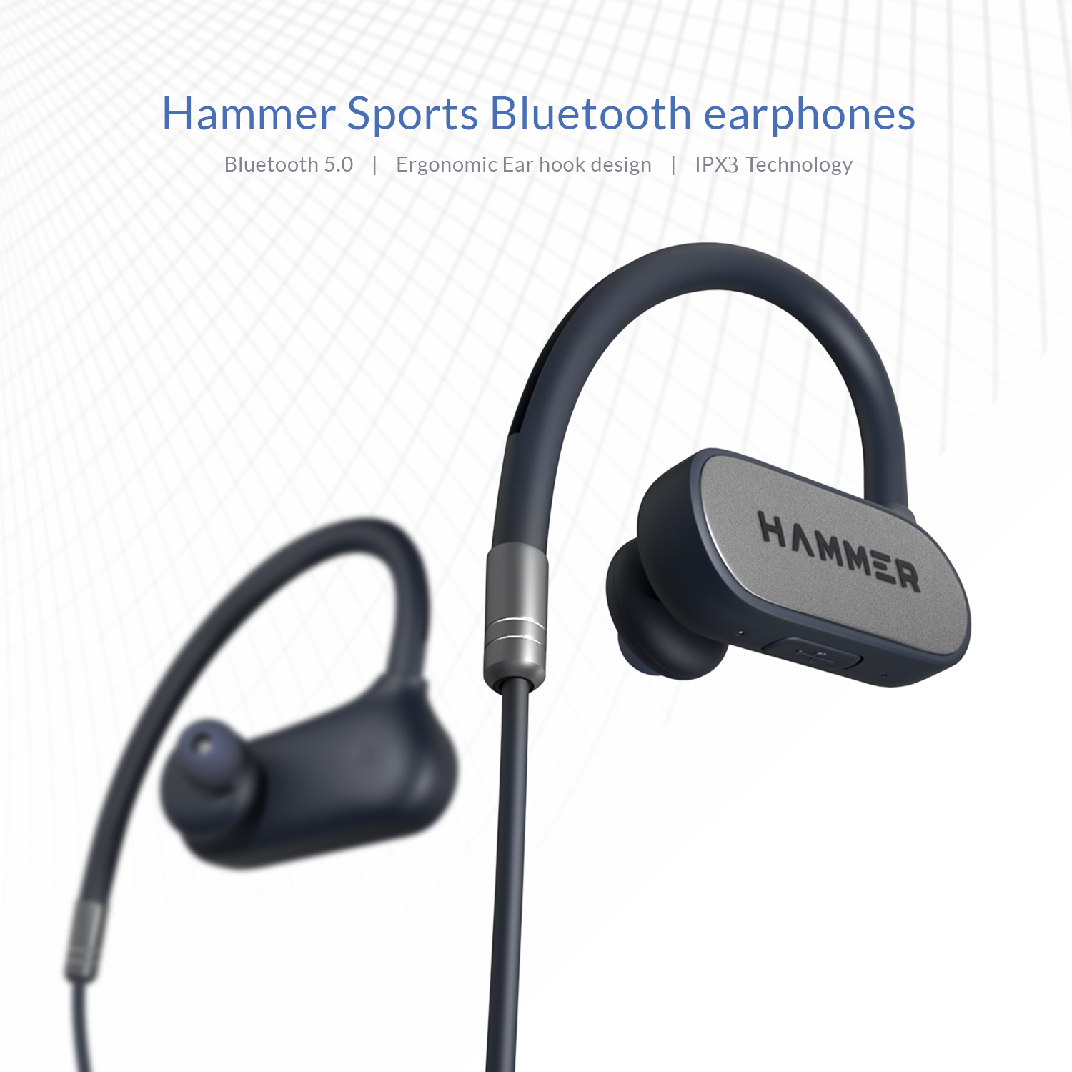 Hammer Grip in The Ear Bluetooth Headphone with mic Blue