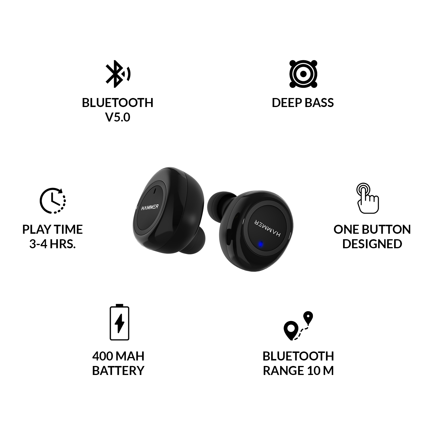 Hammer Airflow Truly Wireless Earbuds (TWS), Bluetooth 5.0, 3-4 Hours Playtime, 10M Range, Wireless Headphone with Magnetic Charging Case (300mah), in-Built Mic (Black)