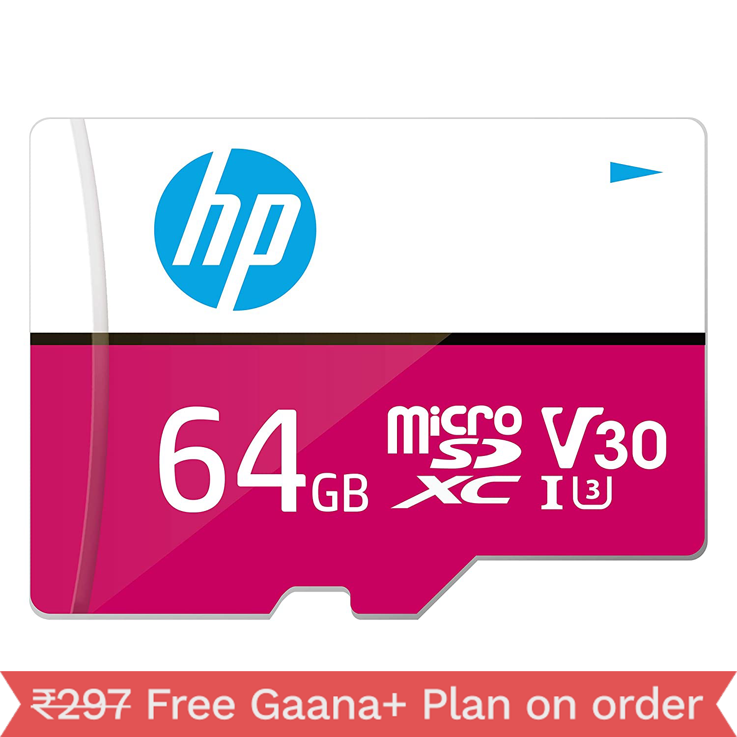 HP Micro SD Card 64GB with Adapter U3 V30 (Pink) (Write Speed 85MB/s & Read Speed 100 MB/s Records 4K UHD and Fill HD Video)