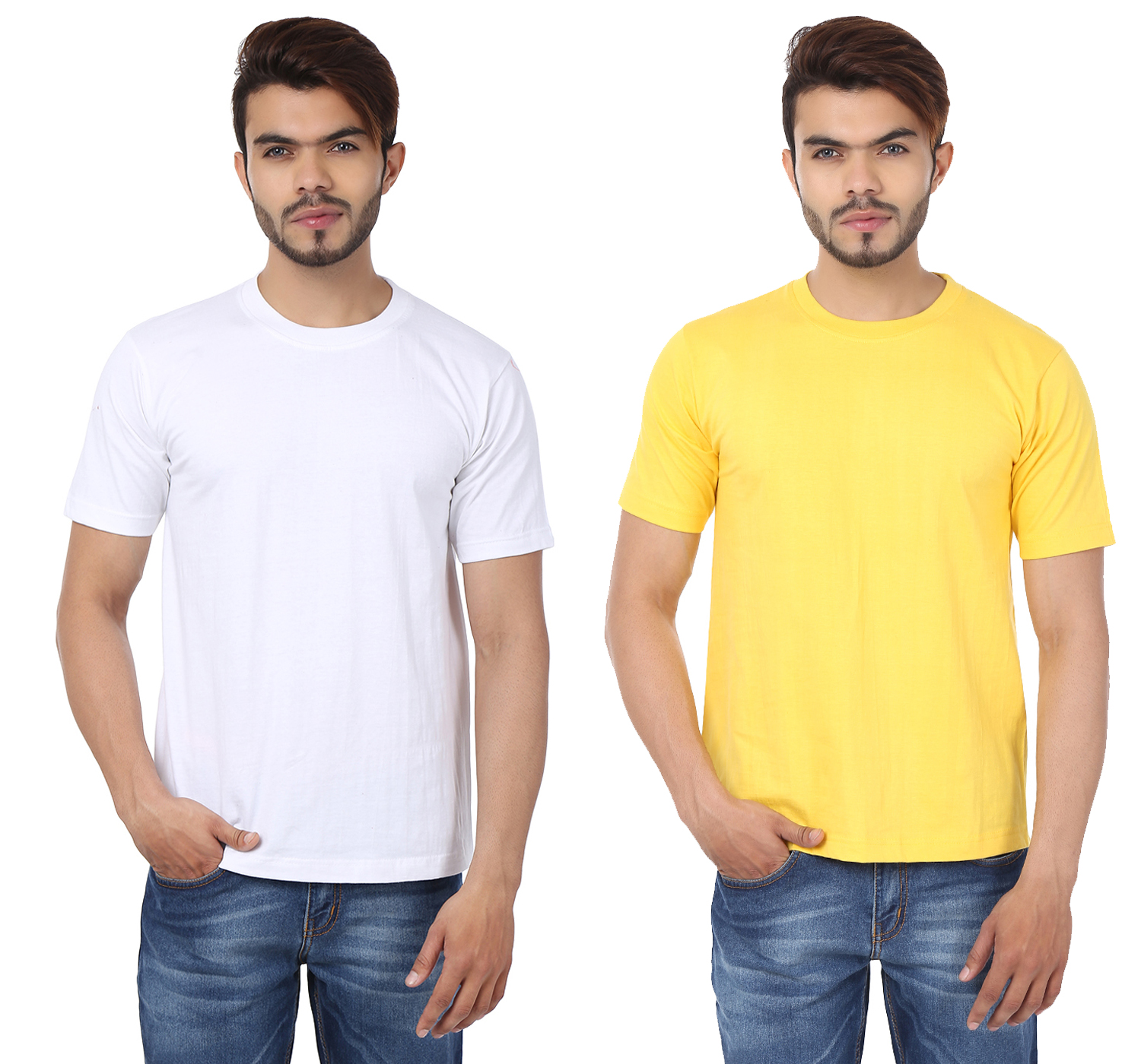 Weardo Combo Of Men's 2 Round Neck T-Shirts In White & Yellow Color