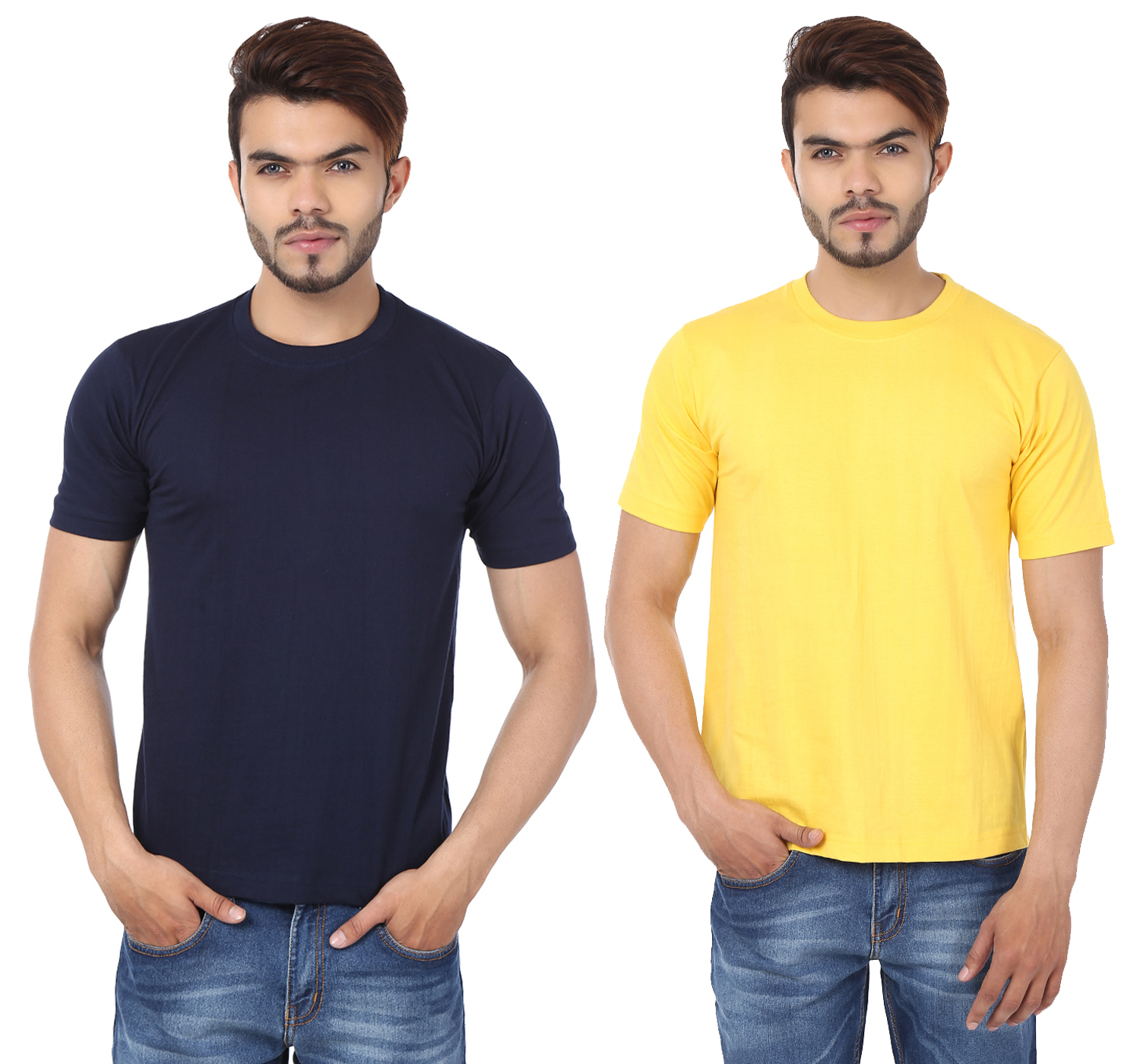 Weardo Combo Of Men's 2 Round Neck T-Shirts In Navy Blue & Yellow Color