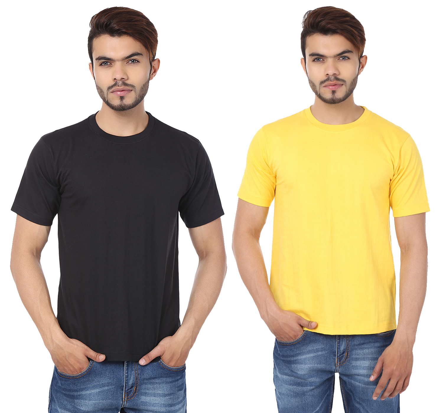 Weardo Combo Of Men's 2 Round Neck T-Shirts In Black & Yellow Color