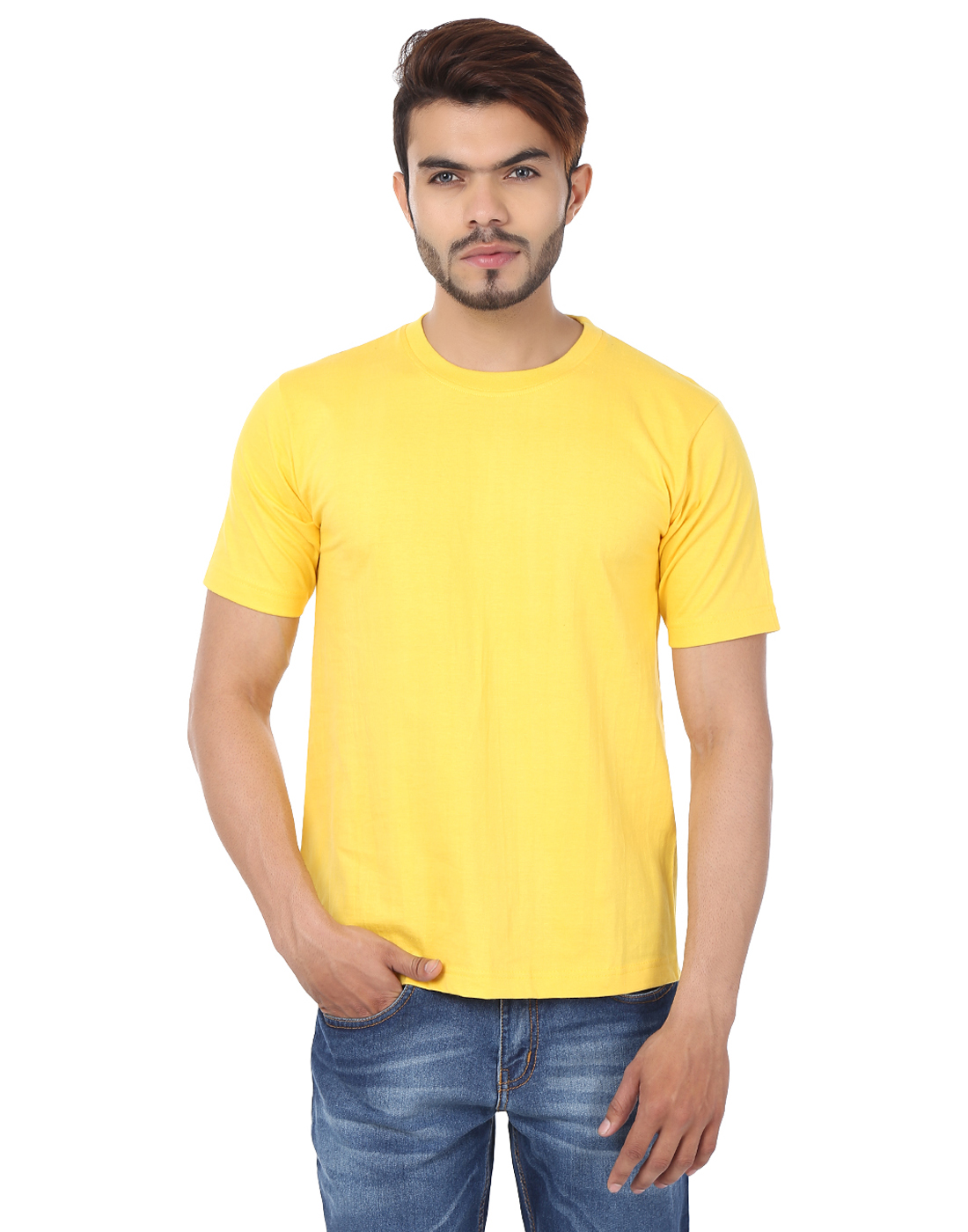 Weardo Men's Plain Yellow Round Neck T-Shirt