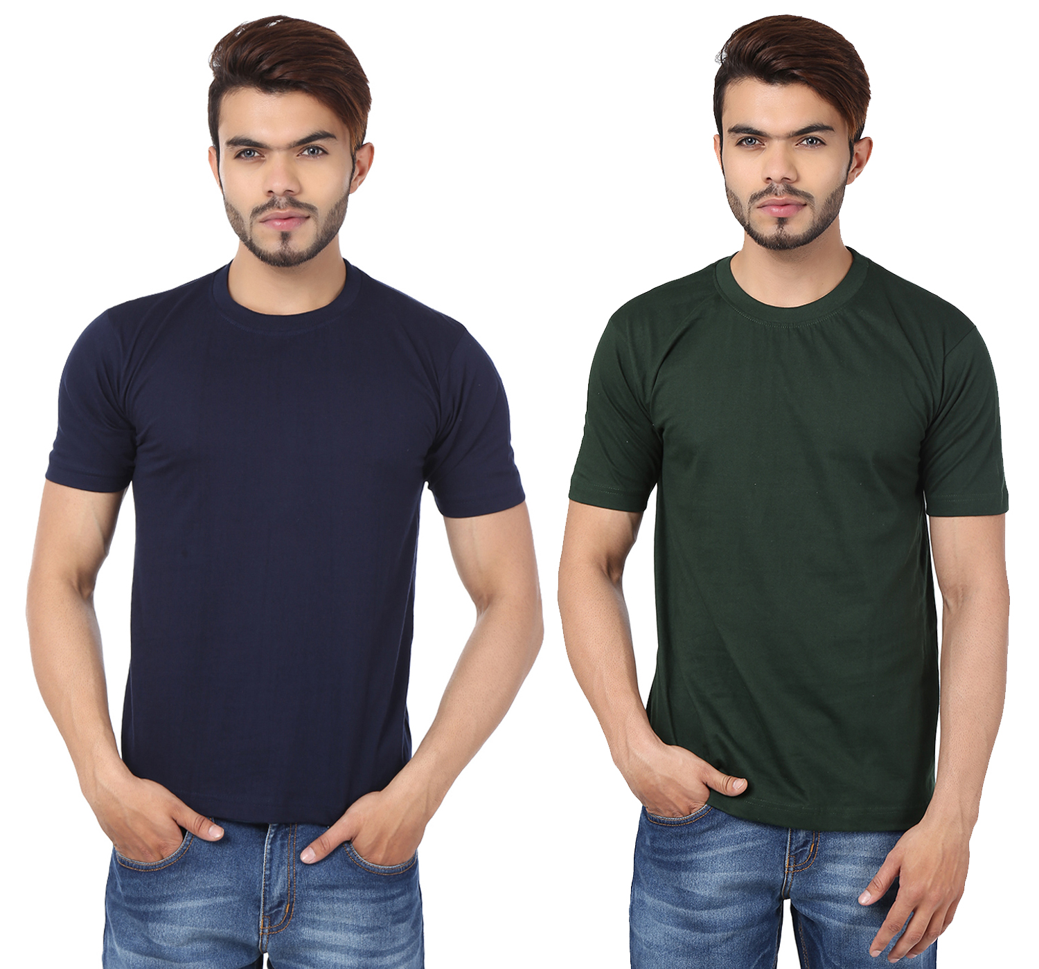 Weardo Combo Of Men's 2 Round Neck T-Shirts In Navy Blue & Bottle Green Color