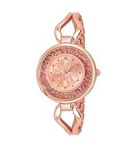 Gold Dial Diamond Case Fower Printed Women Watches