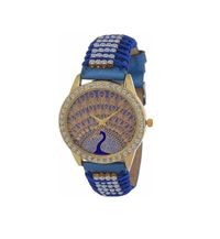 Remarkable Blue Peacock Print and Fashionable Diamond Studded Belt Women's Watch