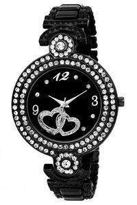 Magnificent Black Dial Heart Printed Analog Watch
