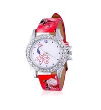 Red Color Designer Stylish Leather Strap Diamond Studded Watch for Women & Girls
