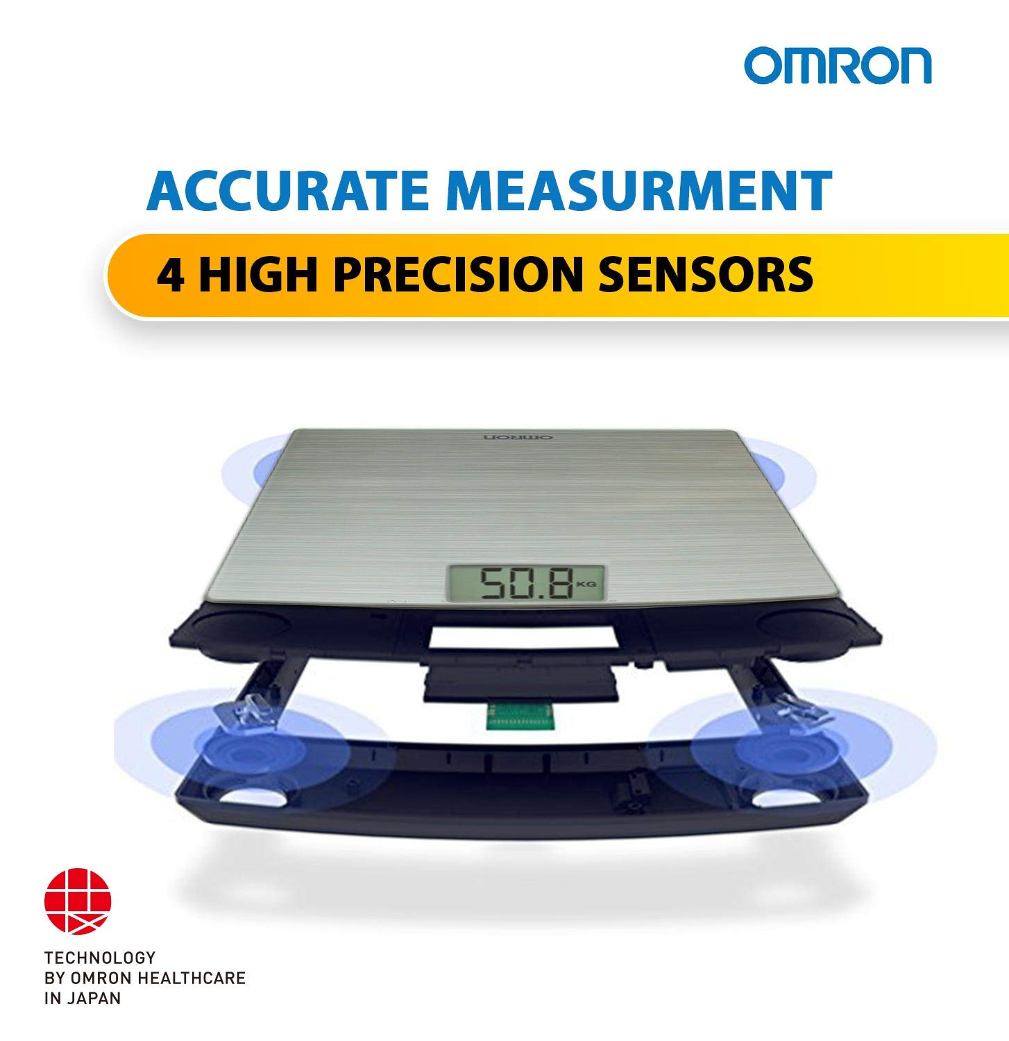 Omron HN 286 Ultra Thin Automatic Personal Digital Weight Scale With Large LCD Display and 4 Sensor Technology For Accurate Weight Measurement
