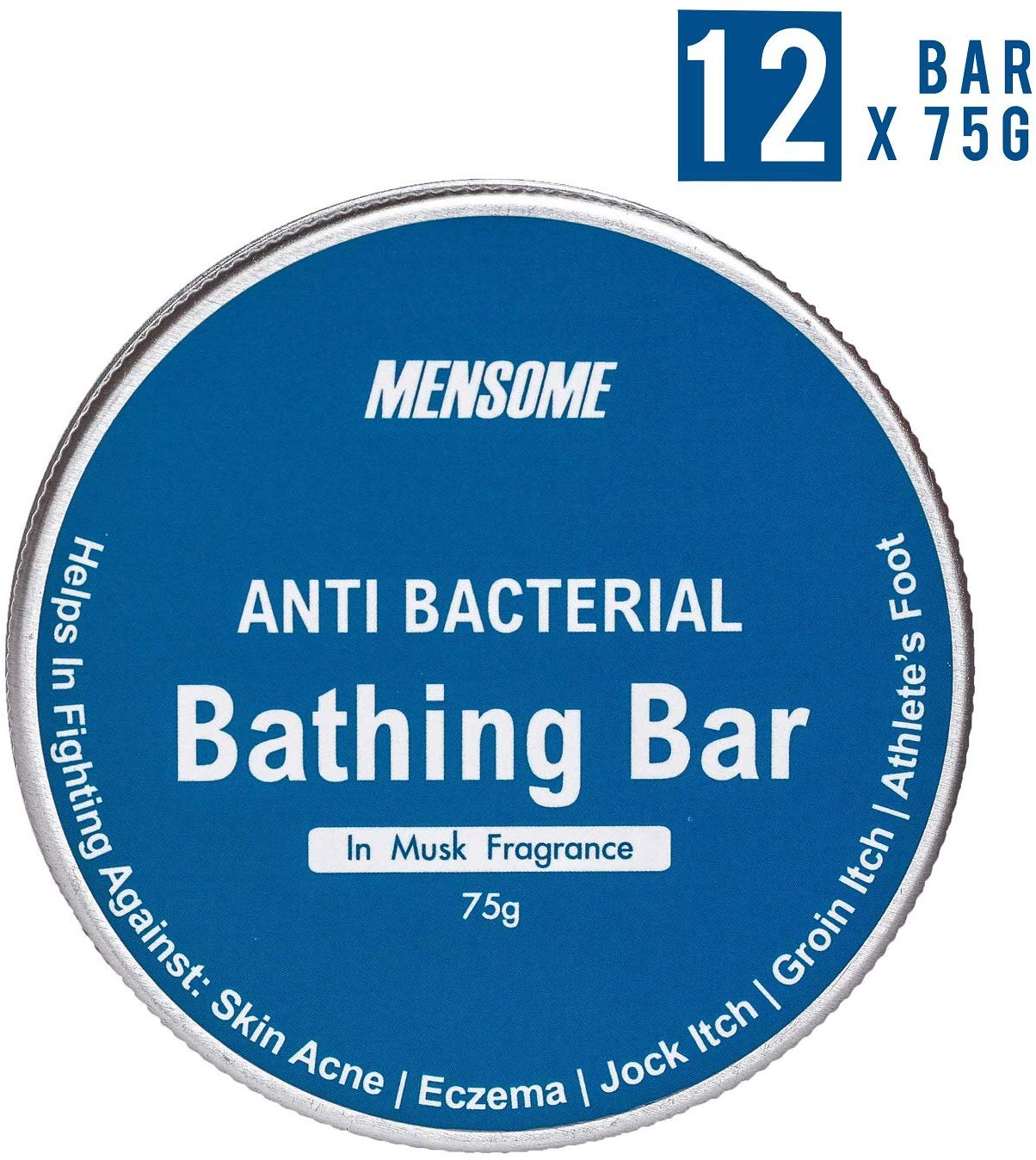 MENSOME Anti Bacterial Bathing Soap Bar Helps in fighting Skin Infections, Acne, Itching and made up of natural oils and herbs in Pack of 12(Musk Fragrance)