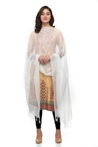 A R Silk Women's Cotton Self Check White Regular Dupatta