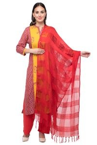 A R Silk Women's Cotton Window Check Redish Mehroon Regular Dupatta