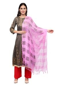 A R Silk Women's Cotton Window Check Baby Pink Regular Dupatta