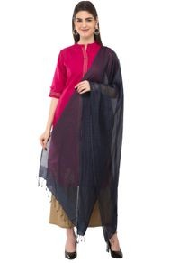 A R Silk Women's Cotton Self Check Navy Blue Regular Dupatta
