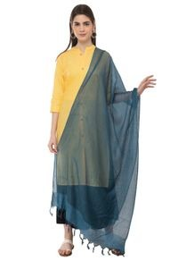A R Silk Women's Cotton Self Check Indigo Blue Regular Dupatta